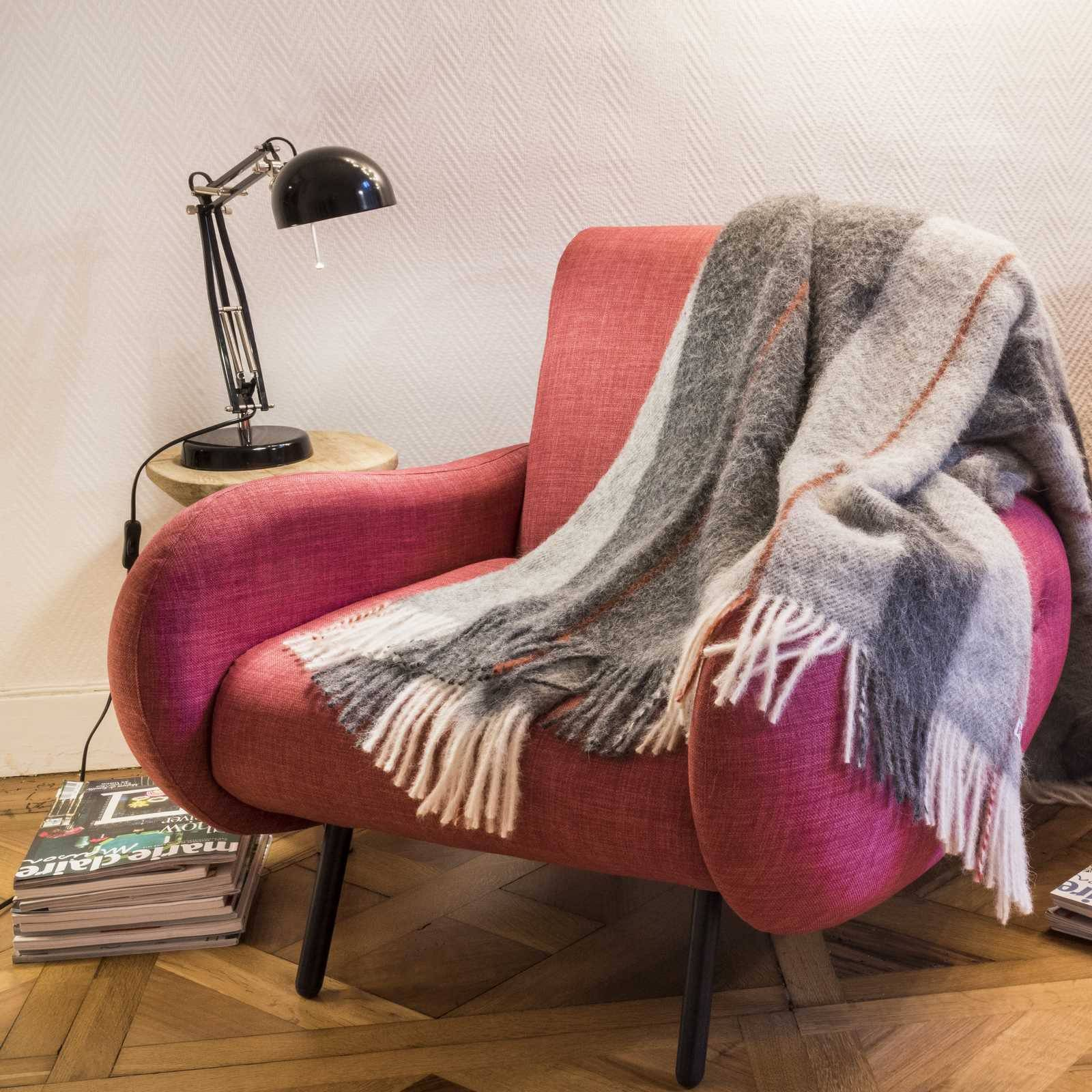 Pure alpaca hair throws: Baby Alpaca Throw Ecossais Menzies Gris/Blanc